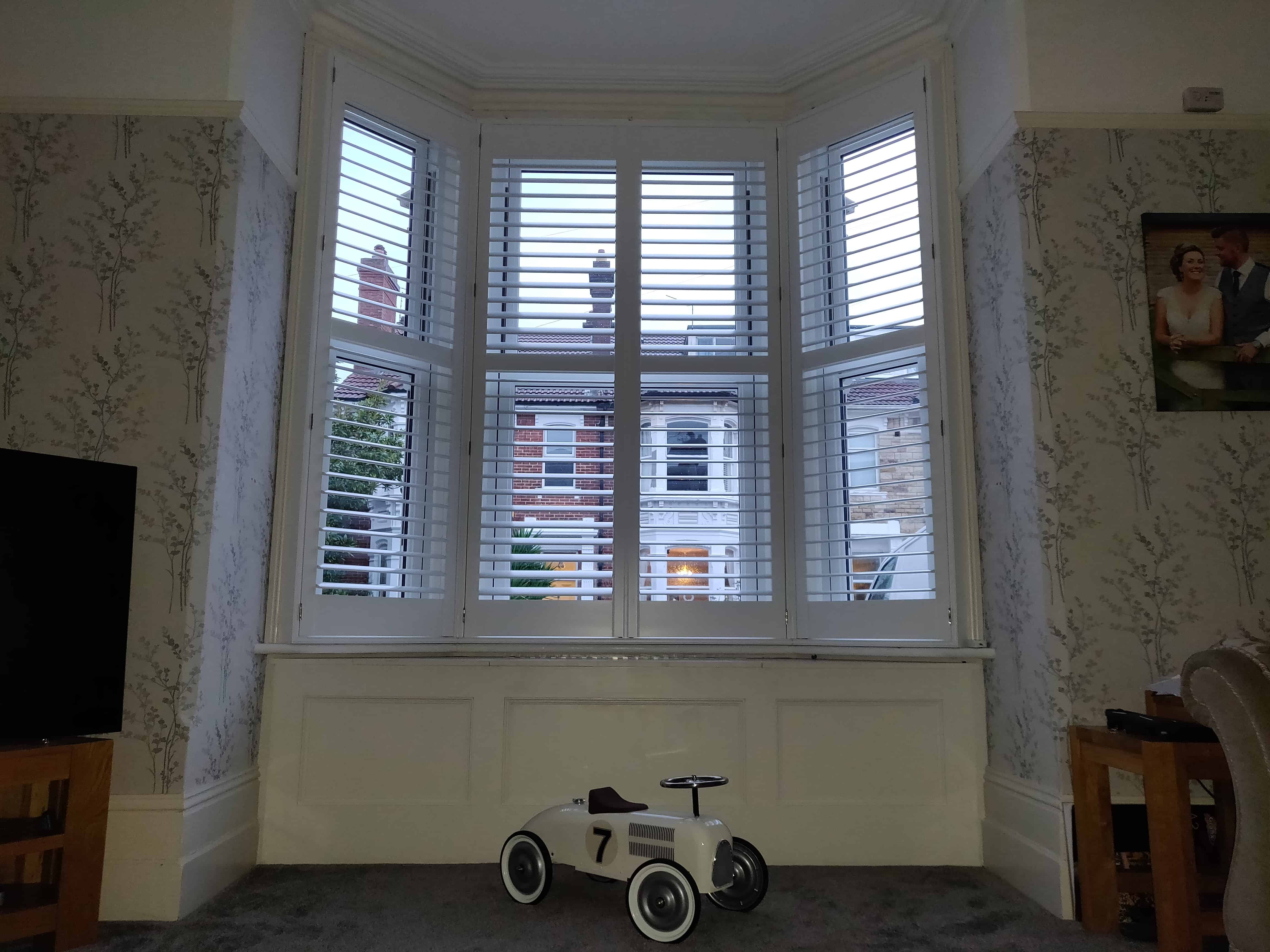 Large bay window plantation window shutters southsea portsmouth